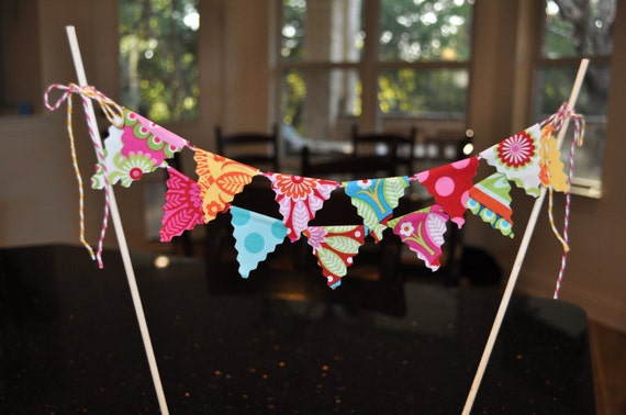 Fabric mini cake pennant banner bunting, Birthday party decoration, Michael Miller's Gypsy Bandana, photo prop
