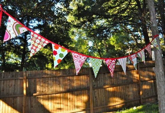 Kumari Garden Holiday fabric pennant banner, Christmas bunting decoration, photo prop