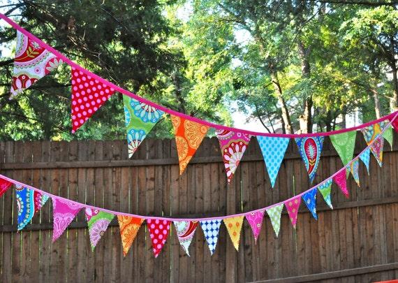 Fabric mini pennant banner bunting, Birthday party decoration, Bright rainbow colors, Michael Miller's Gypsy Bandana, photo prop