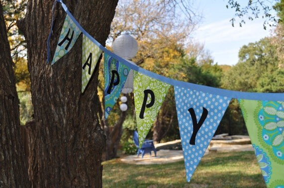 Fabric Happy Birthday pennant banner bunting, Birthday party decoration, photo prop