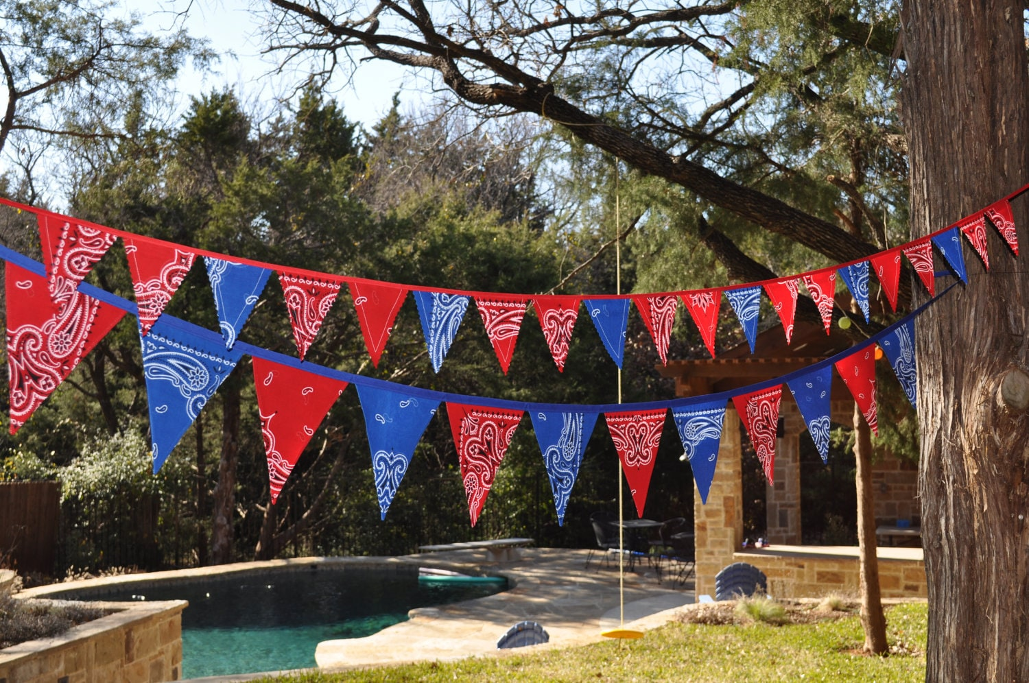 blue red bandana mini banner bunting western. Black Bedroom Furniture Sets. Home Design Ideas