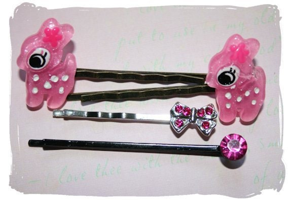 Retro Cute Bobby Pins - Pink Fawns, Little Bow, and Fuchsia Stud