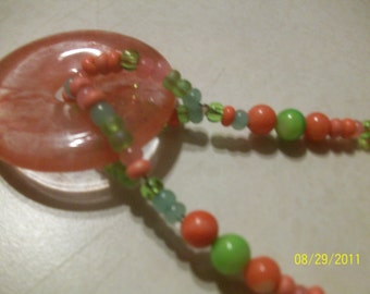 strawberry quartz necklace - pink and green water melon matching set