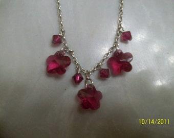 swarovski pink flower necklace