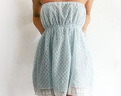 Blue Fashion Strapless women dress reconstructed from vintage slip size XS, S or M - eco friendly