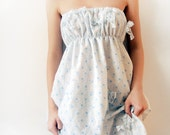 White and Blue Strapless women camisole reconstructed from cotton vintage slip - dusty blue flower print - valentine gift for her
