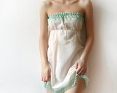 SALE Ivory and Green Strapless women camisole dress reconstructed from a vintage slip size XS or S - ooak