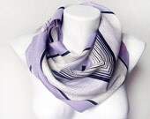 Pastel days - Lavender  vintage scarf with black dots and lines print - elegant mauve vintage scarf