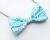 Greek Bow - turquoise and white cotton necklace - aqua, Shabby Chic modern Bright - summer necklace with greek pattern - WhimsyTime