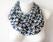 Beige Pieces - dark blue and beige printed scarf, Geometric Circle Scarf Soft Infinity scarf, spring cowl, scarf, over the shoulders