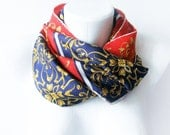 Navy blue and Red vintage silk scarf with gold organic motifs - silk elegant vintage scarf