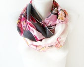 Bohemian Chic Spring - Grey and Pink Paisley Print - Circle Scarf Soft Infinity - over the shoulders - white printed chiffon scarf