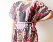 Bohemian Chic, Paisley pink and grey Chiffon Tunic, summer fashion, modern  summer chiffon blouse - oversized chiffon blouse, beach cover u