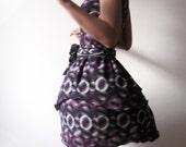 Fun print Black jersey party dress size XS or S - white and purple retro circle prints - OOAK
