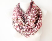 Reddish - red, white, geometric print - Circle Scarf Soft Infinity Scarf - cowl, scarf, over the shoulders - WhimsyTime