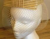 sale 20% off all vintage hats  ... STRAW NETTED stunning Vintage Hat ...