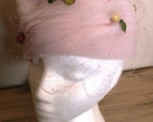 sale 20% off all vintage hats ... Swirling PINK Toille with FRUIT ACCENTS birds nets hat Vintage ...