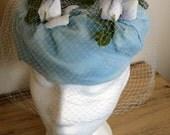 sale 20% off all vintage hats ... Blue FLORAL Fab PILL BOX  Pretty Vintage ...
