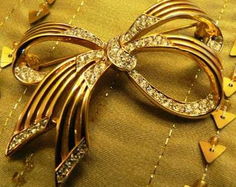 vintage jewels ... DORLAN Darling BOW rhinestone Brooch PIN ...