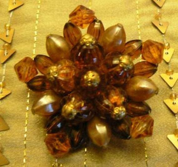 vintage jewels ...  AMBER JEWELED stunning PIN ...