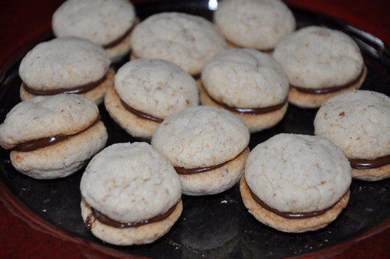 9 Almond Cookies Chocolate  Sandwiches  Baci di Dama No eggs Holiday Gift