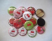 15 Very Cherry flat back buttons