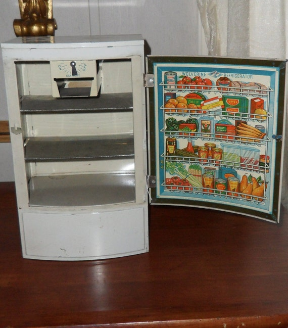 1950s Metal Toy Refrigerator Vintage Children S Kitchen