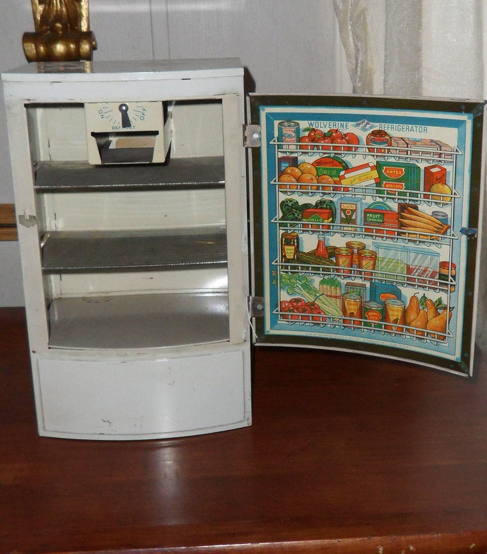 Dream Kitchen Toy Refrigerator: 1950s Metal Toy Refrigerator Vintage Children's Kitchen