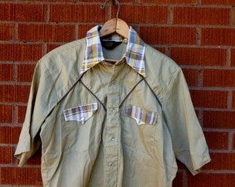 Vintage Mens Western Pearl Snap Short Sleeve 1970s Medium