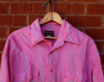 SALE Mens Vintage Pearl Snap Western 1980s 16.5 34/35 Pink Rustler