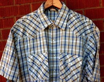 SALE Vintage Mens Pearl Snap Western 1980s Short Sleeve Holt Large