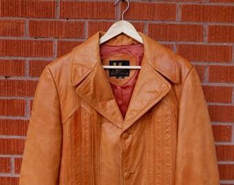 SALE - Vintage Mens Leather Tan Coat Adler 1970s 40