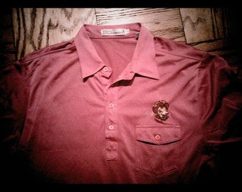 Vintage Mens Polo Shirt Pro Celebrity Pink Borden Elsie Cow Extra Large 1980s