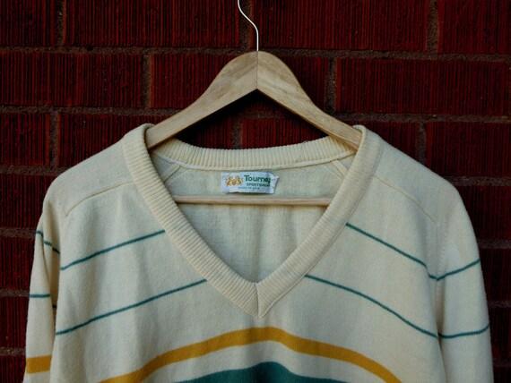 SALE Vintage Unisex Sweater Tourney Striped Large 1980s