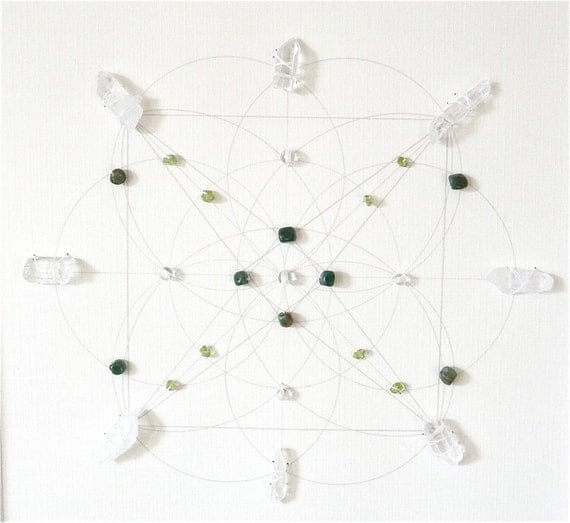 reserved for Hope--- PEACE HARMONY PROSPERITY --- framed sacred crystal grid --- african jade, clear quartz, peridot