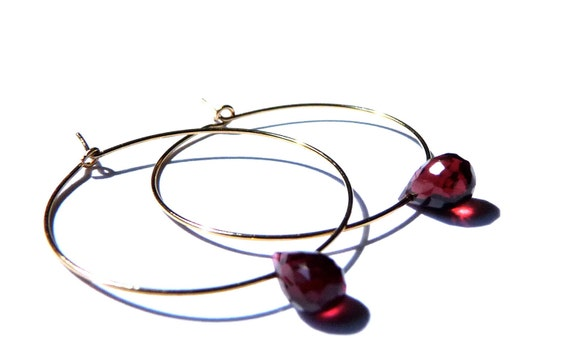 ROOT CHAKRA EARRINGS garnet hoop earrings 14k gold plated hoops root chakra earrings