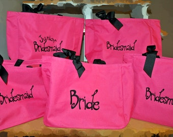 5 Bridesmaid Totes, Bridesmaid Gifts, Bridesmaid Tote Bag, Personalized Wedding Bag, Bridal Party Gift, Monogrammed Totes, Bridesmaids Totes