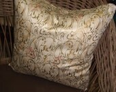 Gold Pattern Accent Pillow,  Reversible, Pink And Tan On The Front, Lovely Blues And Pink On The Back, Beautiful Polished Cotton