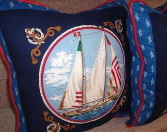 """Sailboat Pillows Red Piping Trim,  18"""" All Heavy Cotton, Bright Nautical Summertime Accent Pillows -  Only 1 Left -  By Pillowinno"""
