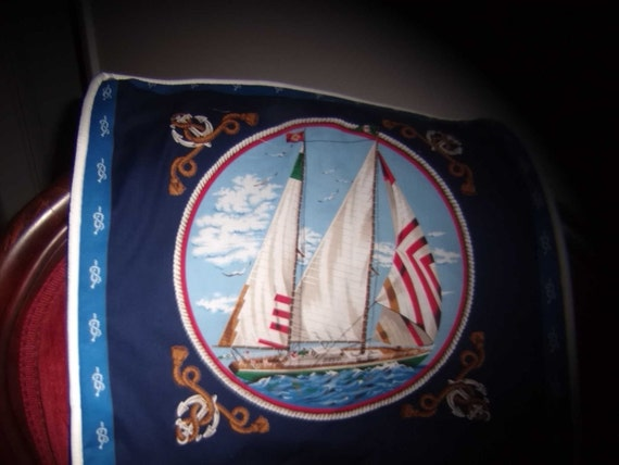 """Nautical 16"""" Accent Pillows, Sailboat & Anchor,  Bright And Colorful, All Cotton,  Choice Of Red, White Or Navy Piping Trim - By Pillowinno"""