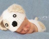 Crochet Puppy Hat and Diaper Cover Set  newborn PHOTO PROP