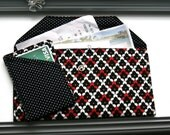 Errand wallet / ATM Wallet / Bill Wallet / Slim Wallet / Cash Wallet / Envelope wallet / Errand Envelope - Black White and Red