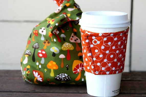 Gift Set - Knitting Project Bag / Crochet Project Bag / Japanese Knot Bag / Wristlet / coffee cozy / coffee sleeve - Small - Retro Mushrooms