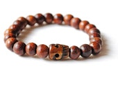 Men's Bracelet Dark Wood with Carved Skull