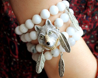 Wolf and Feather Bracelet
