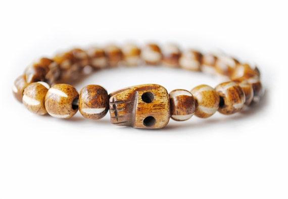 Men's Bracelet / Brown / Skull Bracelet / Carved Bone