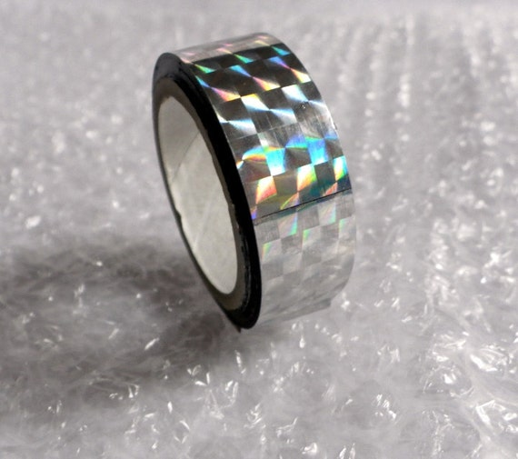 "Tape Silver Sparkle - 1 roll (50 ft long, 1/2"" wide)  Holographic, metallic, shiny, shimmer for Hula Hoop Decoration"