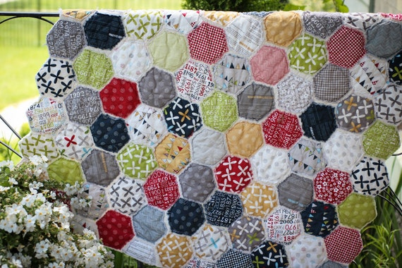 Handmade Original Design Vintage Style Honeycomb Hexagon Baby Quilt - Reunion by Sweetwater