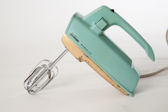 Hand Held Mixers With Attachments ~ Vintage turquoise sunbeam mixmaster hand held mixer model hm