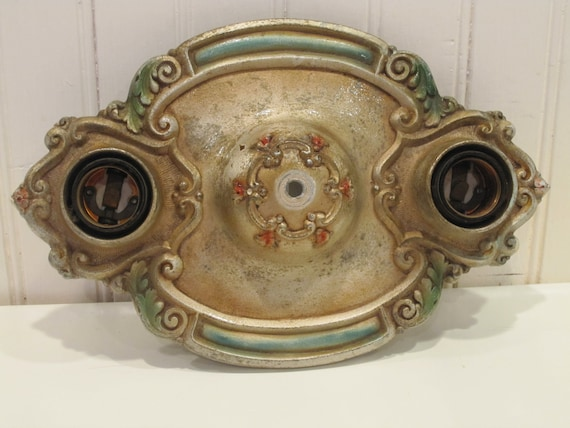 Light Fixture,  Vintage ceiling plate, vintage green and rust color painted accents